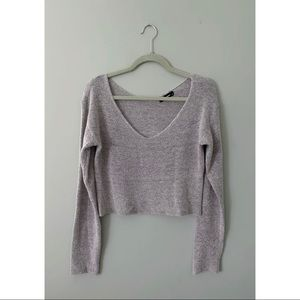 OLIVACEOUS Heather Grey V Neck Sweater